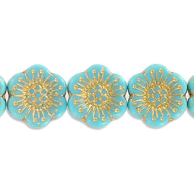 Preciosa glass bead, 18mm, flower, turquoise with gold, hole size approx. 0.75mm, 10 beads per strand