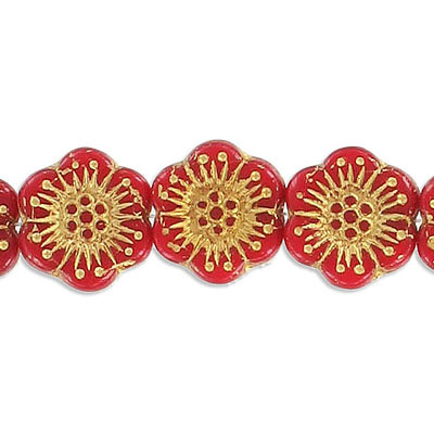 Preciosa glass bead, 18mm, flower, garnet with gold, hole size approx. 0.75mm, 10 beads per strand