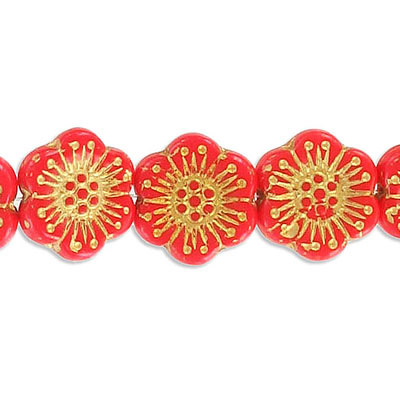 Preciosa glass bead, 18mm, flower, coral with gold, hole size approx. 0.75mm, 10 beads per strand