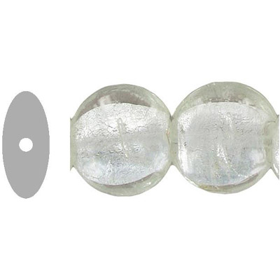 Glass bead silver foil, disk, 20x10mm, 8 inch strand, crystal