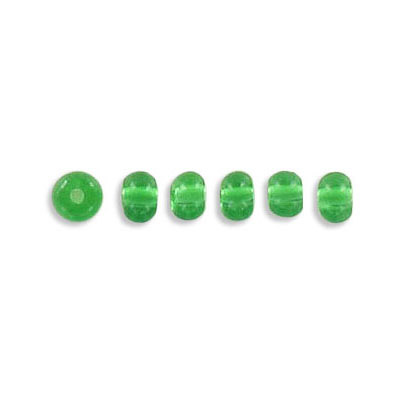 Pressed glass beads, 4mm, emerald, approx. hole size 0.75mm