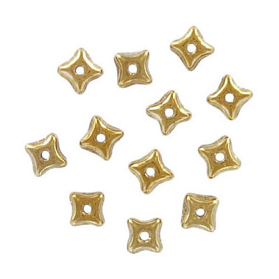 Preciosa glass bead, 5x3mm, orion, gold, hole size approx. 0.75mm, 5x7 inch strands, approx. 60 beads per strand