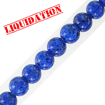 Glass bead, 6mm, approx. hole size 1mm, vintage German glass, blue pattern, 16 inch strand