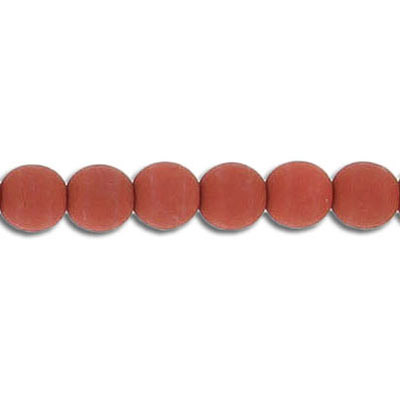 Glass neon beads, 6mm, round, brick, 7 inch strands
