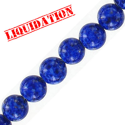 Glass bead, 8mm, approx. hole size 1mm, vintage German glass, blue pattern, 16 inch strand