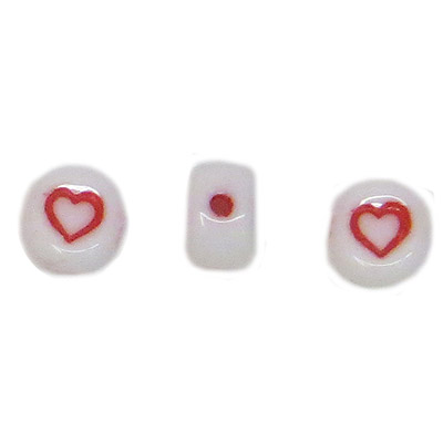 Alphabet glass beads, 6mm, white with red heart