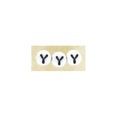 Alphabet glass beads, 6mm, white with black letter Y