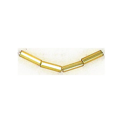 Bugle bead, size 3, strung, gold