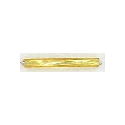 Bugle bead, twisted, 20mm, gold
