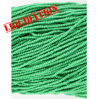 Chalk seed beads, size 11/0, green, strand, 1lb