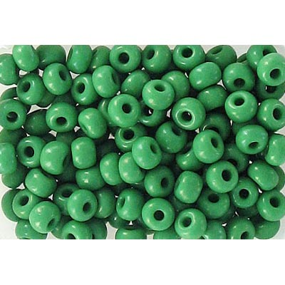 Seed beads, chalk bead strung green size 6