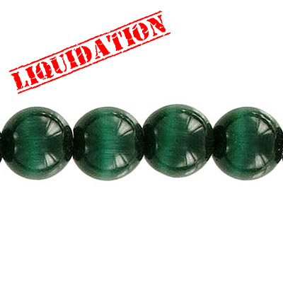Glass bead, 10mm, cat's eye, 16 inch strand, dark green