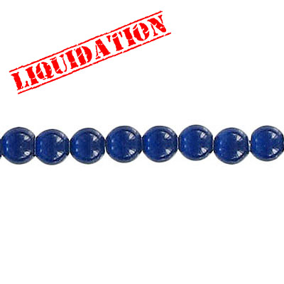 Glass bead, 4mm, cat's eye, 16 inch strand, dark blue