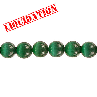 Glass bead, 6mm, cat's eye, 16 inch strand, bead dark green