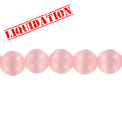 Glass bead, 8mm, cat's eye, 16 inch strand, pink