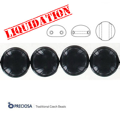 Preciosa Candy glass beads, 2-holes, 12 mm, black, 30 beads per string