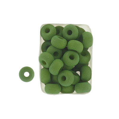 Glass neon beads, 9x5mm, donut, lizard green
