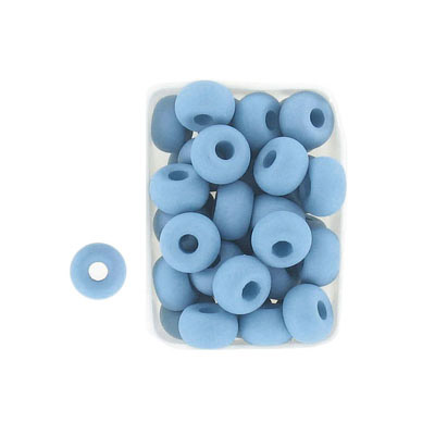Glass neon beads, 9x5mm, donut, aqua haze