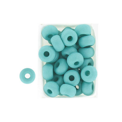 Glass neon beads, 9x5mm, donut, mint
