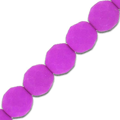 Fire polished beads, 10mm, neon magenta, 7 inch strands