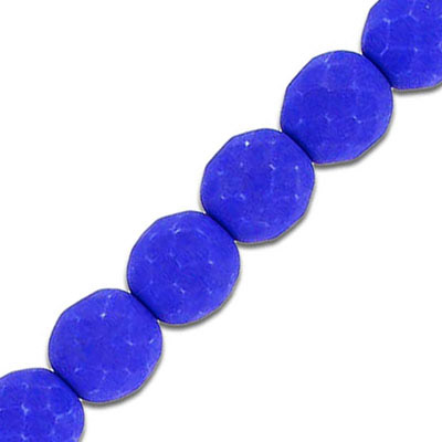 Fire polished beads, 10mm, neon dark blue, 7 inch strands
