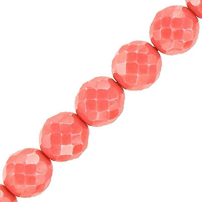 Fire polished beads, 10mm, vividi dark coral, opaque, 7 inch strands