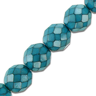 Fire polished beads, 12mm, turquoise snake pattern, pack of 5 strands, 7 inch each strand