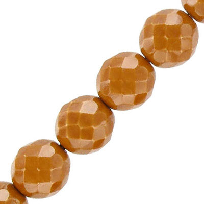Fire polished beads, 12mm, vividi caramel snake, pack of 5 strands, 7 inch each strand