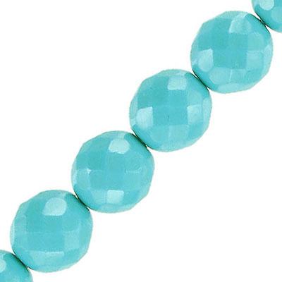 Fire polished beads, 12mm, vividi mint snake, pack of 5 strands, 7 inch each strand