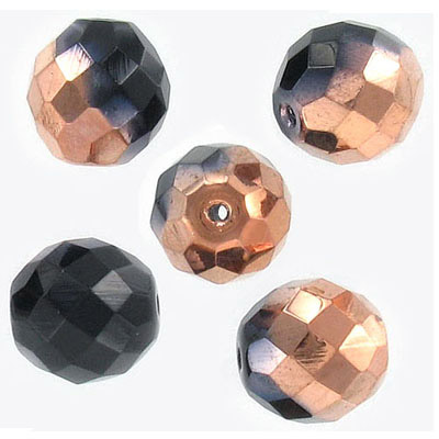 Fire polished Czech beads, jet/capri, half coating, 14mm