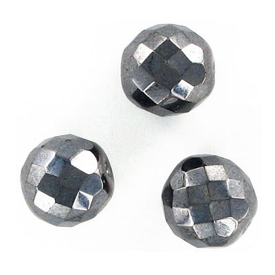 Fire polished Czech beads, jet/hematite, 14mm