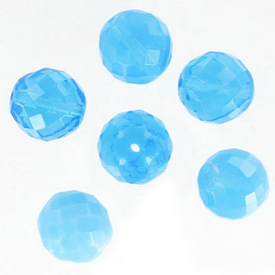 Fire polished facetted beads, 18mm, aqua opal