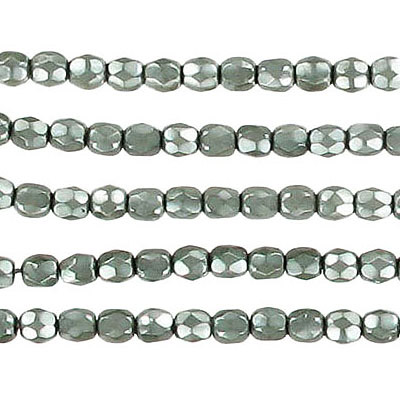 Fire polished beads, pearlized, faceted, 3mm size, olivine
