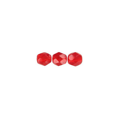Fire polished Czech beads, light siam, 4mm