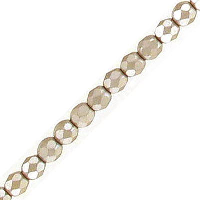 Fire polished faceted beads, 4mm, pearl taupe, 50 beads per strand
