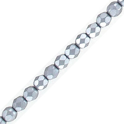 Fire polished faceted beads, 4mm, pearl grey, 50 beads per strand