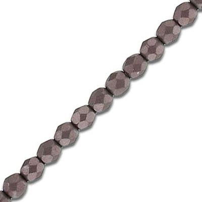 Fire polished faceted beads, 4mm, pearl brown, 50 beads per strand