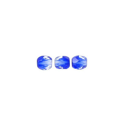 Fire polished beads, 4mm size, crystal/cobalt blue