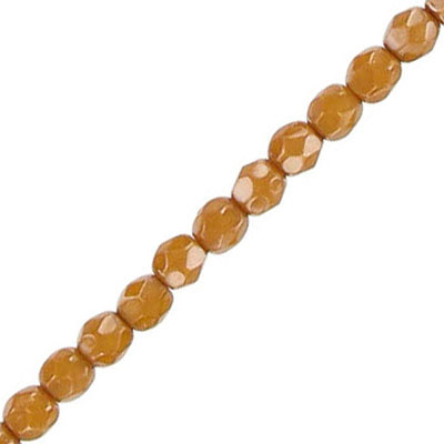Fire polished beads, 4mm, vividi caramel snake, pack of 5 strands, 7 inch each strand