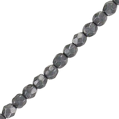 Fire polished beads, 4mm, vividi charcoal, pack of 5 strands, 7 inch each strand