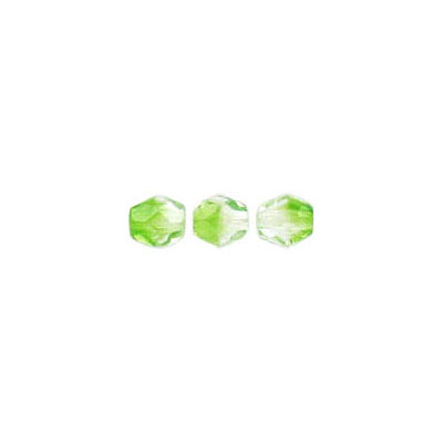 Fire polished beads, 4mm size, crystal/green