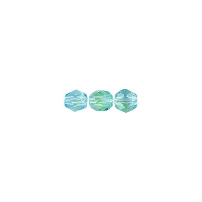 Fire polished Czech beads, transparent aqua green, 4mm