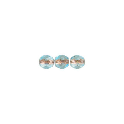 Fire polished Czech beads, transparent light aqua copper line, 4mm
