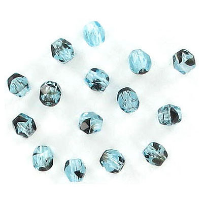 Fire polished Czech beads, aqua jet, 4mm