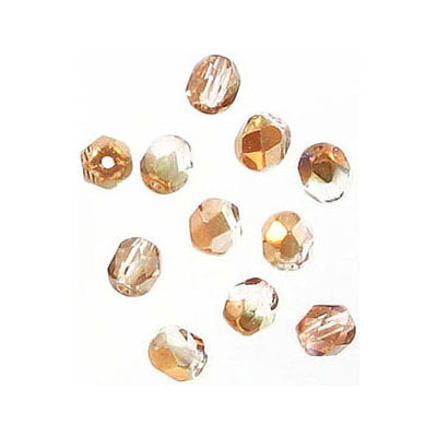 Fire polished Czech beads, crystal capri gold, 4mm