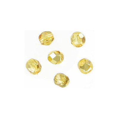 Fire polished Czech beads, citrine cal, 4mm