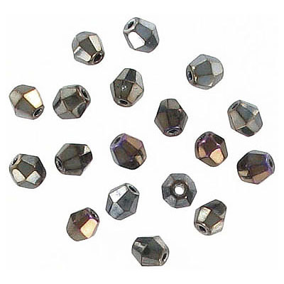 Fire polished beads, rondelle, 4x4mm size, brown iris