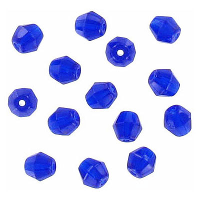 Fire polished Czech beads, rondelle, cobalt blue, 5x5mm