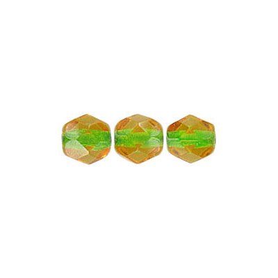 Fire polished Czech beads, transparent topaz green lined, 6mm