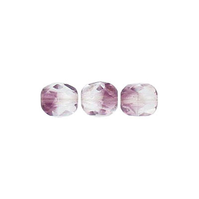 Fire polished beads, 6mm size, crystal/amethyst